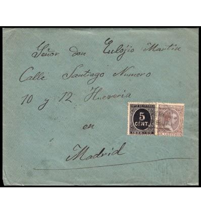 1898. Alfonso XIII. Pelón. Sobre de Espeja (Salamanca). Cartería. Impuesto de guerra. Edifil 219, 236