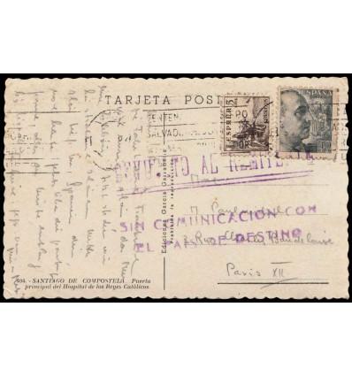 1941ca. II WW Tarjeta Santiago Compostela (Coruña). Devuelto. Sin comunicación país destino. Edifil 816, 925