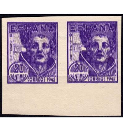 1942. San Juan de la Cruz. Pareja sin dentar doble impresión. Maculatura o ensayo de color definitivo. Edifil 954