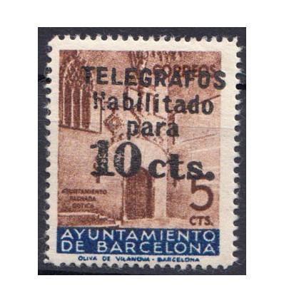 1936. Ayuntamiento Barcelona. Telégrafos. Edifil 9 **