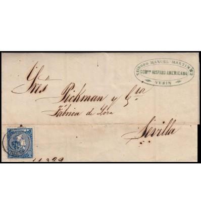 1866. Isabel II. Carta Verín (Orense). Edifil 81
