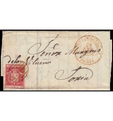 1854. Isabel II. Carta Medinaceli (Soria). Baeza y parrilla. Edifil 24