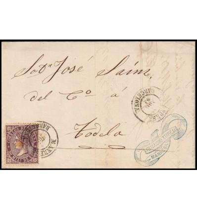 1869. Isabel II. Carta Manresa (Barcelona). Edifil 98