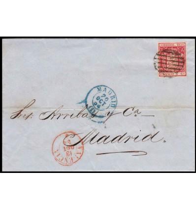 1854. Isabel II. Carta Valencia. Parrilla. Llegada en anverso. Edifil 24