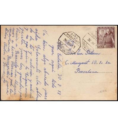 1951. Franco. Tarjeta postal Santa Eulalia. Ambulante marítimo Palma Mallorca, Ibiza, Valencia. Edifil 1027