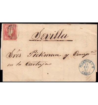 1857. Isabel II. Carta Puerto de Santa María (Cádiz). Parrilla negra. Edifil 48