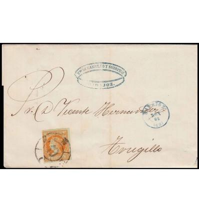 1861. Isabel II. Envuelta Badajoz. Rueda carreta. Edifl 52