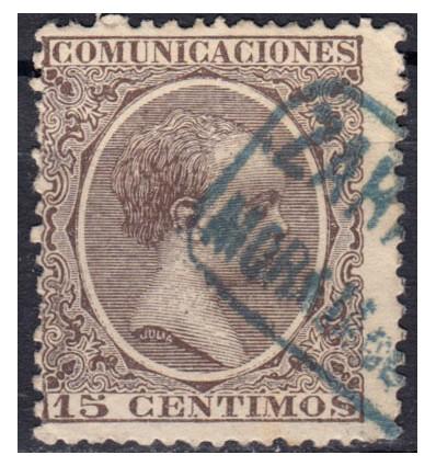 1889 ca. Alfonso XIII. Cartería Morata de Jalón (Zaragoza). Edifil 219