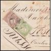 1865. Fragmento Valladolid a Suiza. Rueda carreta 14. Franqueo insuficiente y tasada 10