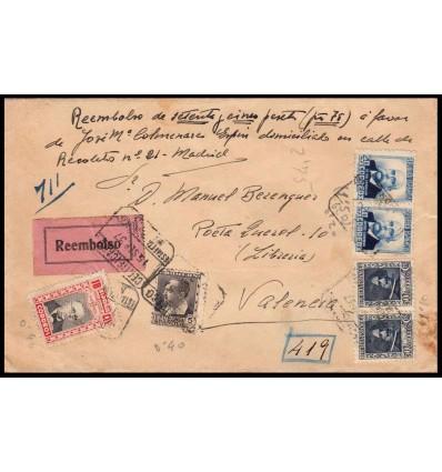 1937. Sobre reembolso Madrid. Edifil 681, 670, 692, beneficencia 13