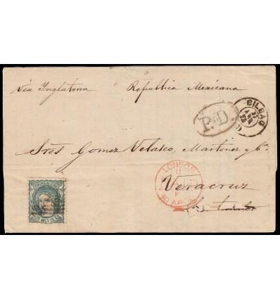 1872. Matrona. Gobierno provisional. Envuelta Bilbao (Vizcaya) a Veracruz (Méjico). Edifil 110