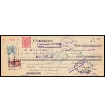 1937. Letra de cambio. Especial móvil y suscripción patriótica. Variedad dentado. Segovia