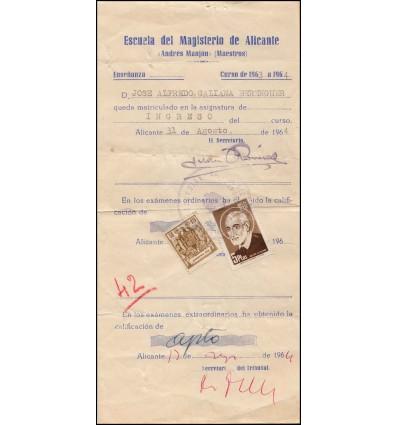 1964. Tasas exámenes. Timbre móvil y sello de San José de Calasanz. Alicante.