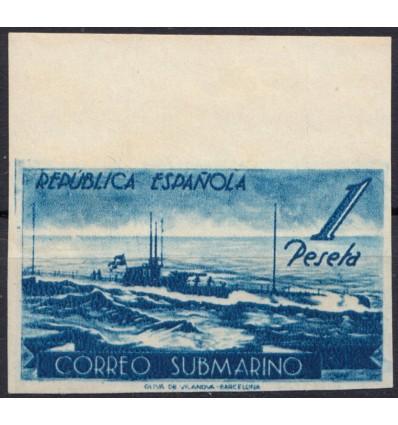 1938. Correo submarino. Variedad color sin dentar. Edifil 775ccgs