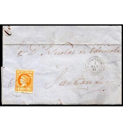 1861. Carta Castro Urdiales (Santander, Cantabria). Fechador negro. Edifil 52