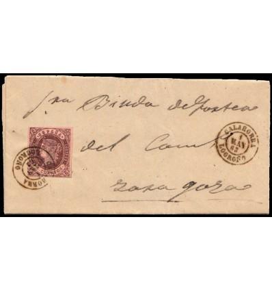 1863. Carta Calahorra (Logroño, La Rioja). Fechador negro. Edifil 581863. Carta Soto de Cameros (Logroño, La Rioja). Fechador ne
