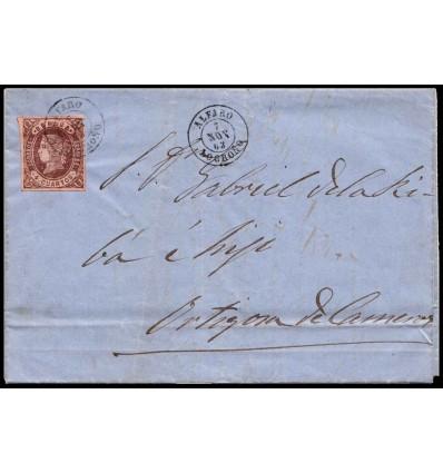 1863. Carta Alfaro (Logroño, La Rioja). Fechador negro. Edifil 58