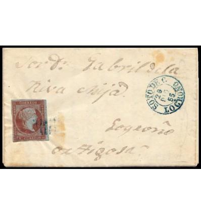 1855. Carta Laguna de Cameros (Logroño, La Rioja). Parrilla azul y fechador azul de Soto de Cameros. Edifil 48