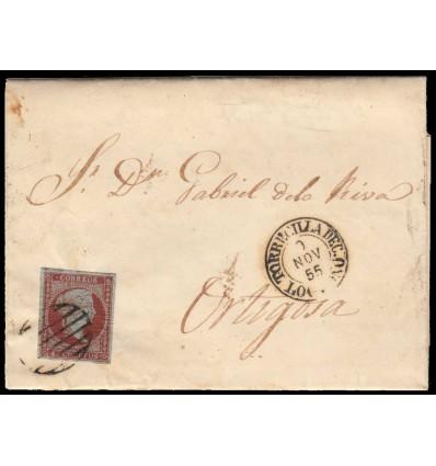 1855. Carta Torrecilla de Cameros (Logroño, La Rioja). Parrilla negra y fechador negro de Soto de Cameros. Edifil 40