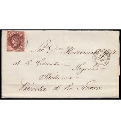 1863. Carta Villoslada de Cameros (Logroño, La Rioja). Fechador negro de Torrecilla de Cameros. Edifil 58