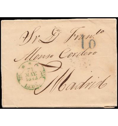 1845. Carta de León. Baeza verde y azul de llegada. Porteo 10 azul