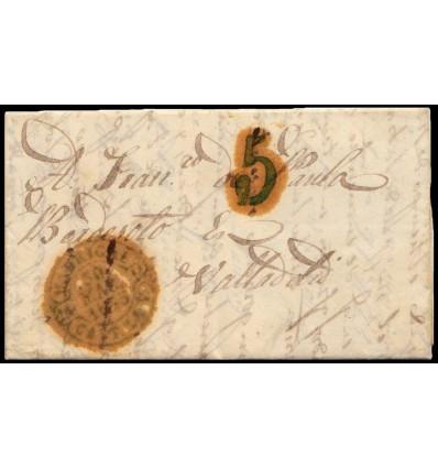 1845. Carta de Fontiveros (Ávila). Baeza verde de Madrigal. Porteo 5
