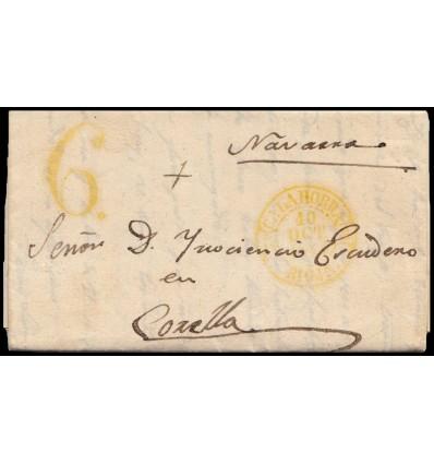 1844. Carta de Arnedo (La Rioja). Baeza amarillo de Calahorra. Porteo 6