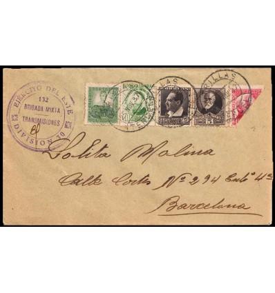 1937. Utrillas (Teruel). Guerra Civil. Ejército Este Brigada Mixta Transmisiones. Bisectado. Edfifil 663, 664, 682, 686