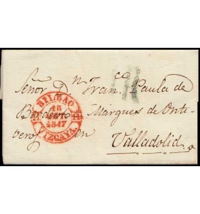 1847. Carta Bilbao (Vizcaya). Baeza rojo. Porteo 1R azul