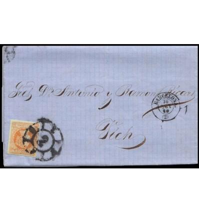 1860. Isabel II. Carta Barcelona. Rueda de carreta 2