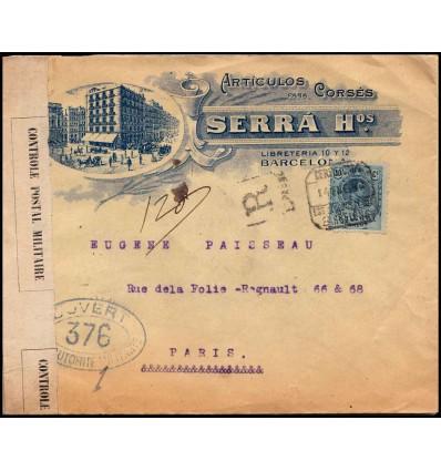 1916. Alfonso XIII. Medallón. Sobre certificado Barcelona. Edifil 277
