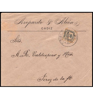 1901. Sobre Cádiz. Tarifa impresos. Edifil 173