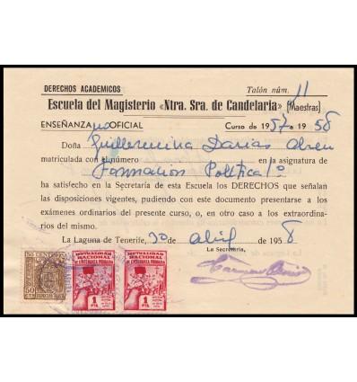 1960. Tasa exámenes Laguna de Tenerife (Canarias). Mutualidad Nacional Enseñanza Primaria. Fiscal