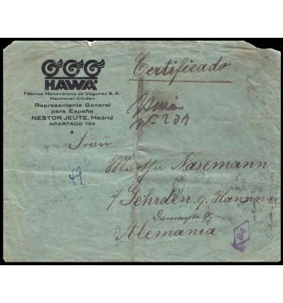 1922. Alfonso XIII. Medallón. Sobre certificado Madrid. Fraude postal. Edifil 268, 273