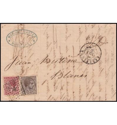 1879. Alfonso XII. Sobre Barcelona. Impuesto guerra. Error fechador trébol. Edifil 188, 192