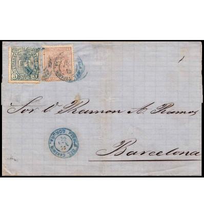 1875. Escudo España. Envuelta Puebla Caramiñal (Coruña). Fechador azul. Edifil 153, 154