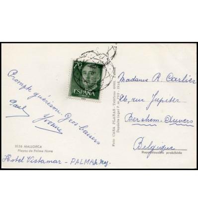 1958. Franco. Tarjeta postal Palma Mallorca (Baleares). Matasello extranjero. Bélgica. Edifil 1151