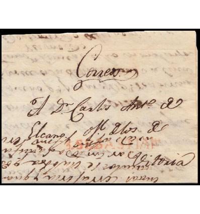 1822. Carta Vitoria (Alava). Correos. Correo interior por San Sebastián. Marca S. SEBASTIAN (Guipúzcoa) rojo