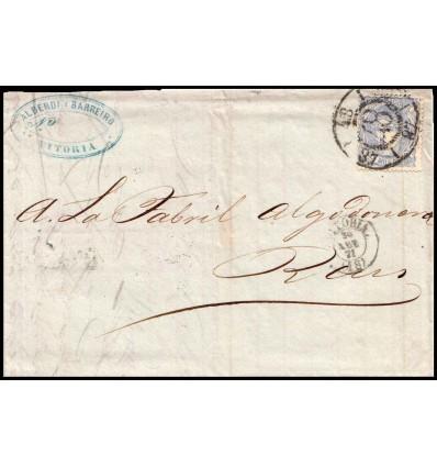 1871. Alegoría España. Carta Vitoria (Alava). Fechador Vitoria. Rueda carreta modificada. Edifil 107