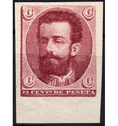 1872. Amadeo I. Cadete. Ensayo de color carmín vinoso. Galvez 846